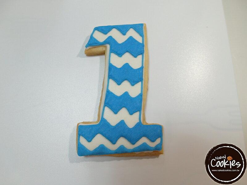 【裸餅乾Naked Cookies】周歲生日藍色6入-創意手工糖霜餅乾,婚禮/生日/活動/收涎/彌月