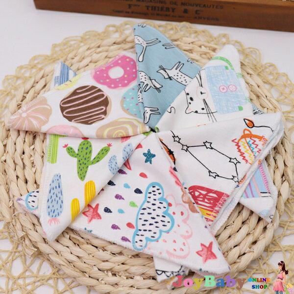 6條裝嬰幼兒純棉口水巾寶寶針織棉小毛巾手帕印花小方巾JoyBaby