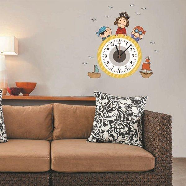 BO雜貨【YV0016】時鐘壁貼 動漫海盜船 兒童房教室裝潢佈置 牆貼壁紙貼紙