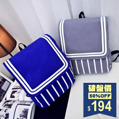 清新甜美學院風條紋帆布包 後背包 包飾衣院 P1721