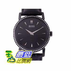 [COSCO代購如果沒搶到鄭重道歉 Hugo Boss黑色皮革錶帶石英女錶 W956832