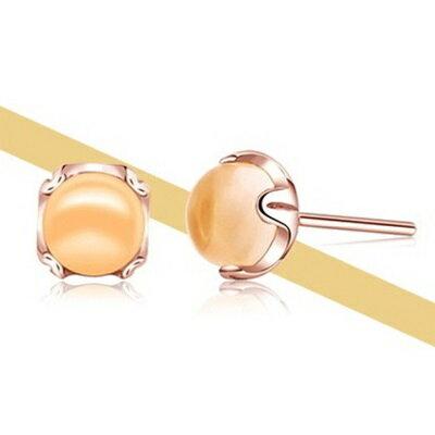 玫瑰金純銀耳環水晶耳飾~高貴大方簡約百搭生日情人節 女飾品73dz52~ ~~米蘭 ~