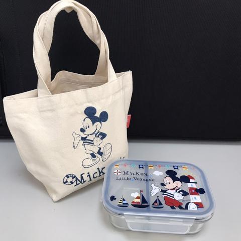 【丹爸好物嚴選】迪士尼玻璃分隔保鮮盒(米奇/580ml)(附可愛造型手提袋)