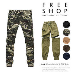《Free Shop》Free Shop 可拆式長短褲日韓系街頭高磅數挺實布料抽繩休閒迷彩長褲縮口褲束口褲【QM88876】