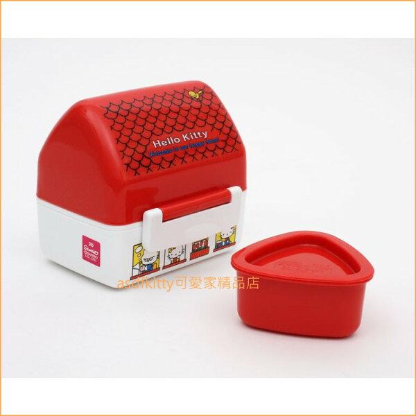 asdfkitty可愛家☆KITTY屋型便當盒附三角御飯糰模型水果盒野餐盒-日本製