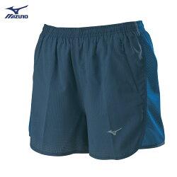 J2TB825815(牛仔藍)股下7cm 微彈性透氣網布 內裏褲設計 女路跑褲 【美津濃MIZUNO】