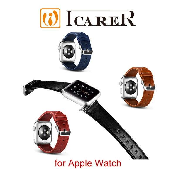 【愛瘋潮】99免運ICARER復古系列AppleWatch42mm手工真皮錶帶