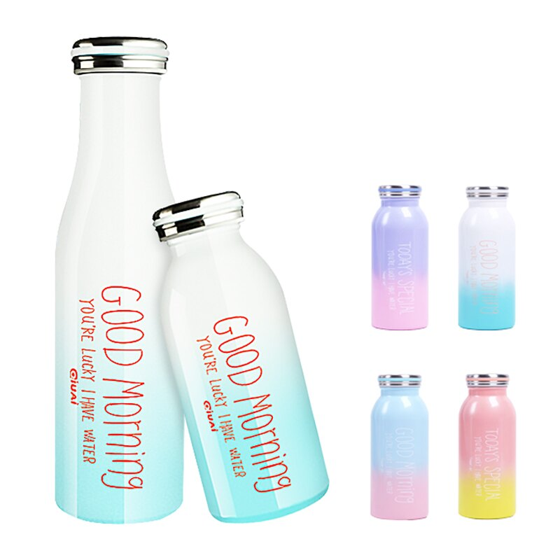 馬卡龍漸層 保溫瓶 350/500ml 漸層保溫瓶 牛奶保溫瓶 保冷水壺 隨手杯 304不鏽鋼 保溫杯