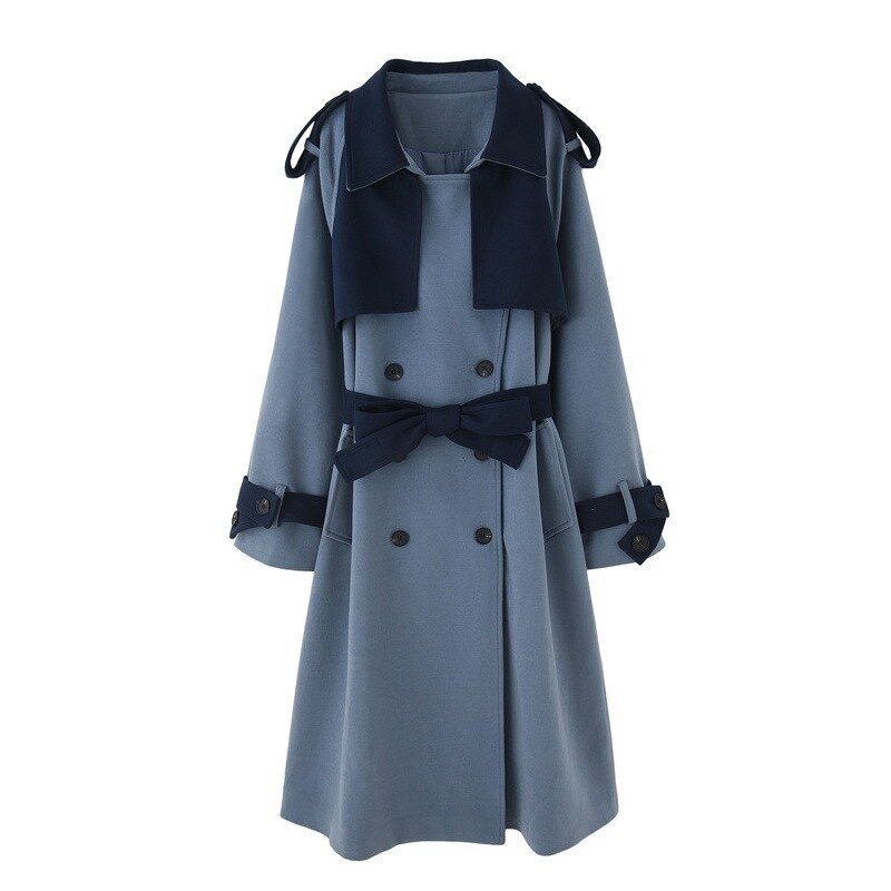 毛呢外套長版大衣-拼色寬鬆休閒秋冬女外套73yx20【獨家進口】【米蘭精品】