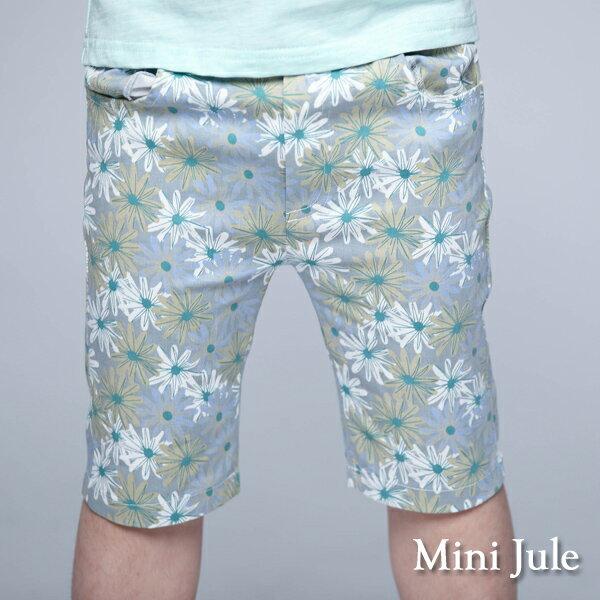 《MiniJule童裝》短褲滿版配色花朵合身窄版短褲(灰)