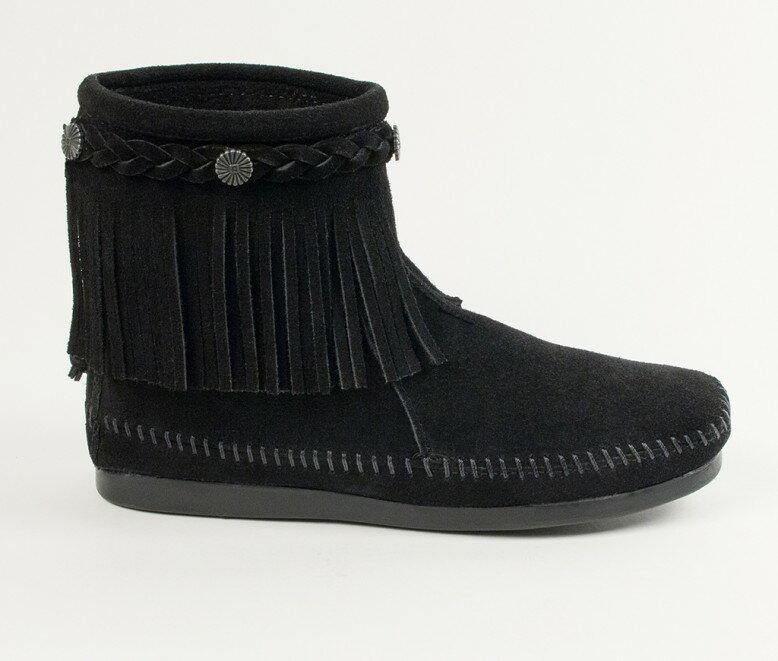 【Minnetonka 莫卡辛】黑色 - 麂皮後拉鍊流蘇莫卡辛短靴【全店免運】 2
