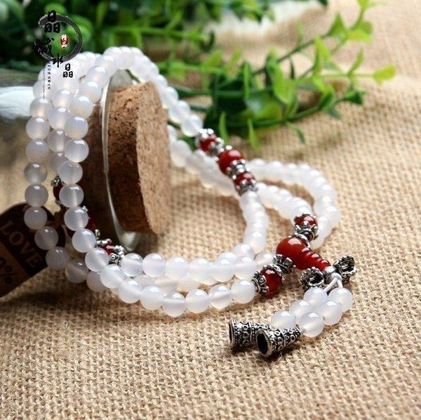 晶誠 民族風巴西天然白瑪瑙圓珠108佛珠手鏈時尚款女款時尚水晶鏈