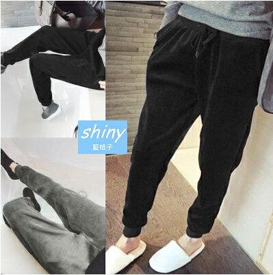 【V1211】shiny藍格子-溫暖舒適.保暖絨面加厚絲絨哈倫休閒褲