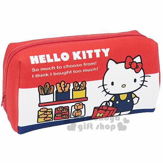 〔小禮堂〕Hello Kitty 全開式化妝包《紅白藍.麵包.提袋.站姿》淺水布材質