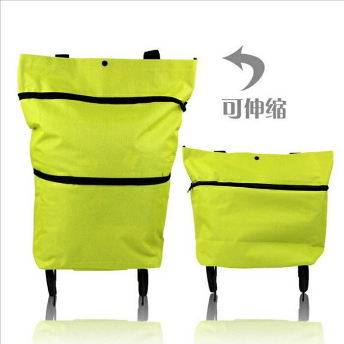 糖衣子輕鬆購【BA0163】可折疊可背式牛津布購物車拉桿拖輪購物包買菜包