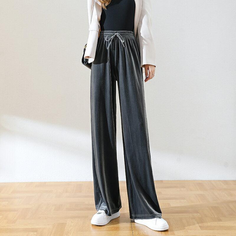 金絲絨闊腿褲女秋冬新款高腰寬鬆垂感直筒顯瘦黑