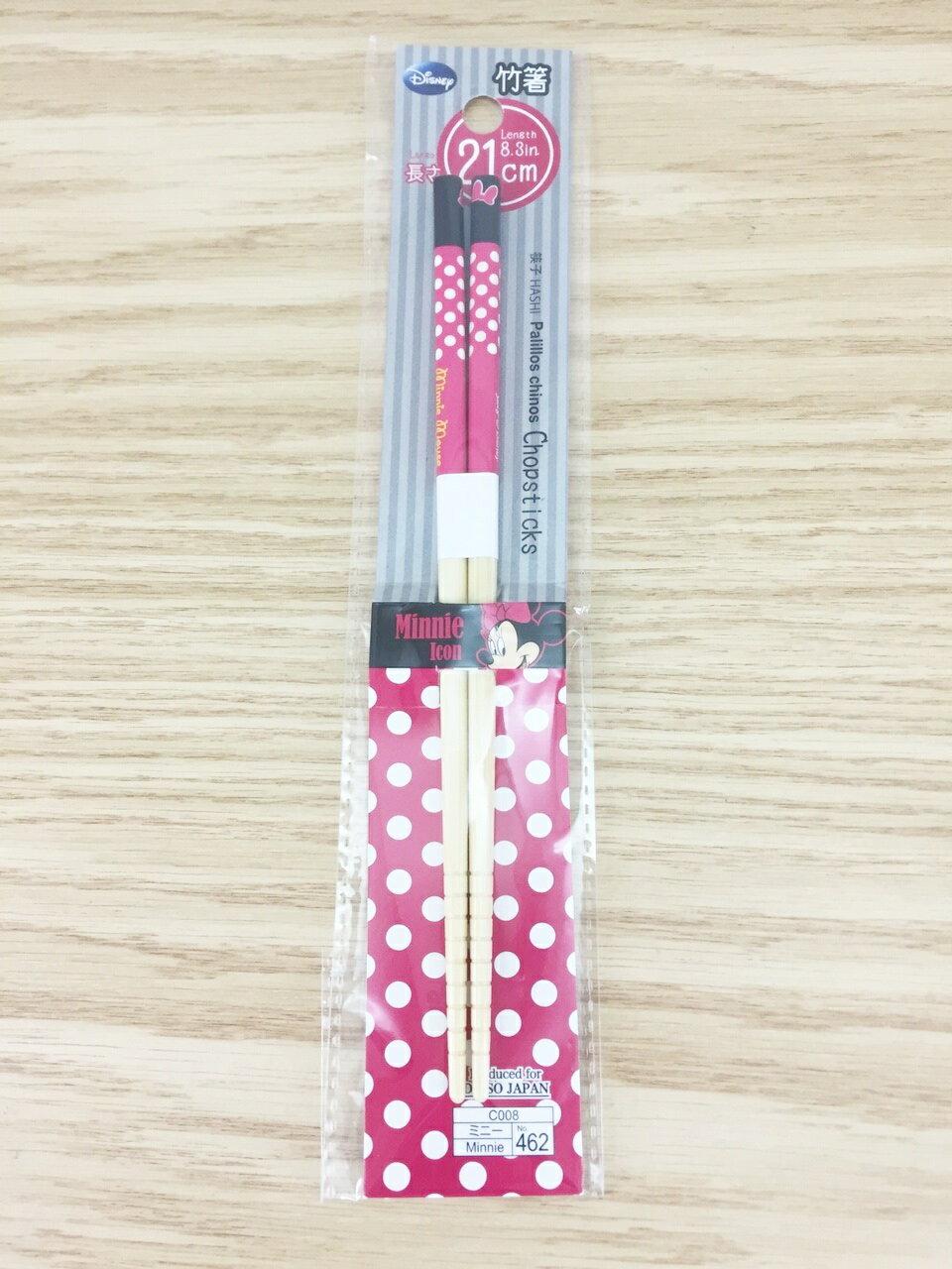 【真愛日本】15122500013 竹筷21cm-米妮點點桃結 迪士尼 米老鼠米奇 米妮 筷子 餐具