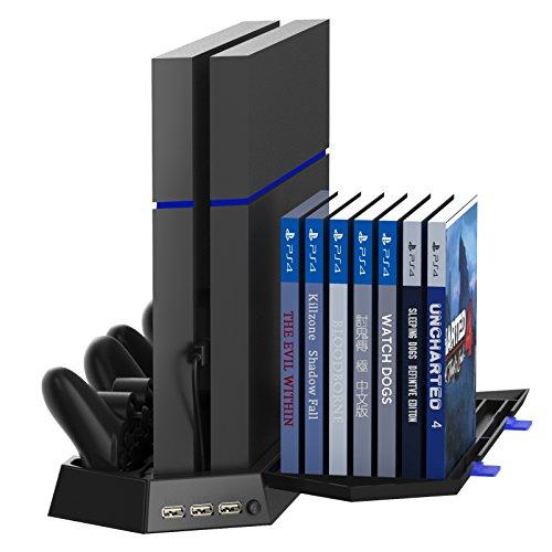 PS4多功能輕薄型散熱座+手把座充+遊戲片收納