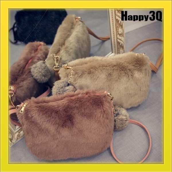 毛絨毛球拉鍊化妝包手機袋單肩包斜背包小方包毛毛包~黑 灰 棕 米黃 白 黑白格~AAA08