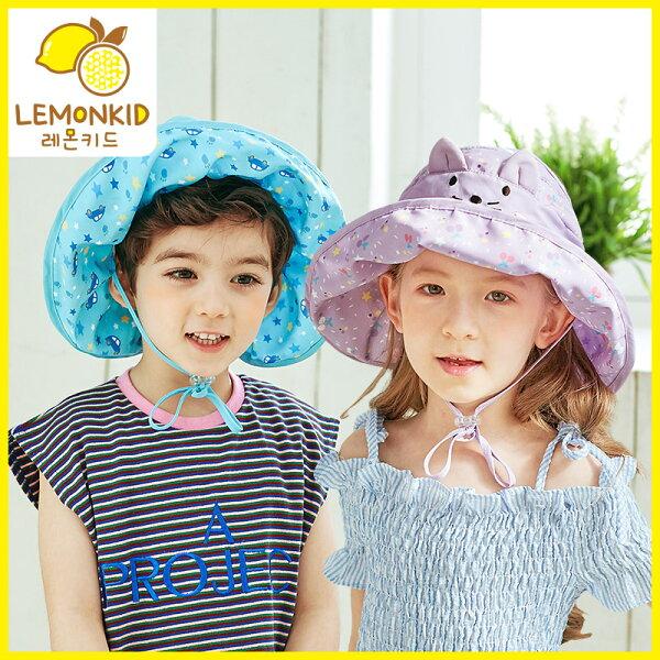 Lemonkid◆春夏UPF防曬卡通半空頂綁帶透氣網遮陽空頂帽軟帽
