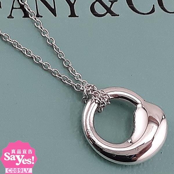 【奢華時尚】TIFFANY 925純銀內心圓墜飾項鍊(八八成新) #21032
