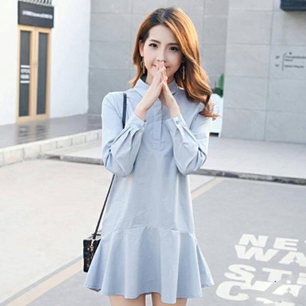 PS Mall 長袖襯衫魚尾裙擺洋裝~T022~