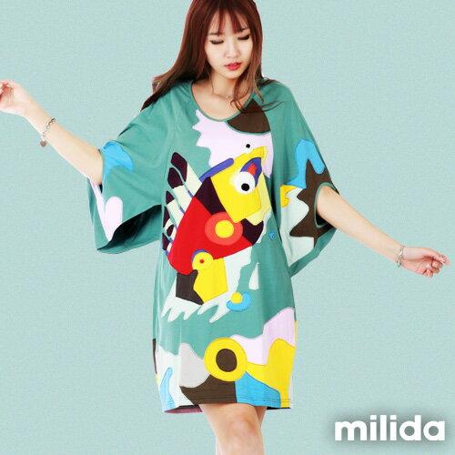【Milida,全店七折免運】五分袖寬鬆舒適洋裝 0