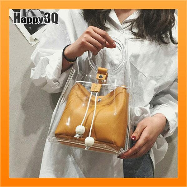 透明包子母包流蘇包求球包女生包水桶包手提包-棕黑灰粉白米【AAA4421】