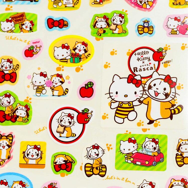 Hello Kitty 小浣熊 日本製 精美貼紙 puchi rascal