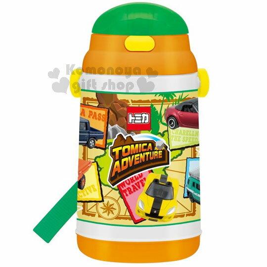 〔小禮堂〕TOMICA 小汽車 彈跳吸管水壺《綠橘.多車子.400ml》附背帶.保冷專用