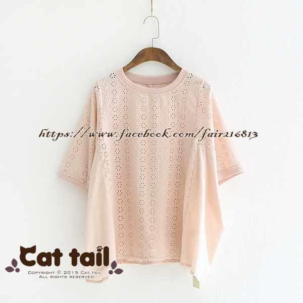 《貓尾巴》LZ-03152簡約鏤空刺繡純色短袖上衣(森林系日系棉麻文青清新)