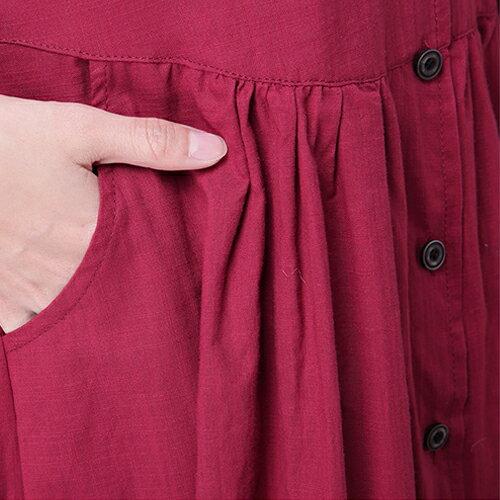 罩衫外套 - 純色V領開衩長袖罩衫洋裝【29209】藍色巴黎《2色》現貨 + 預購 2