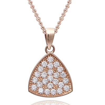 玫瑰金純銀項鍊 鑲鑽吊墜~繽紛絢麗 母親節情人節生日 女飾品73dk458~ ~~米蘭 ~