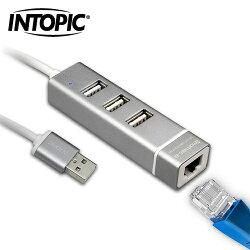 INTOPIC 廣鼎 USB2.0 RJ45鋁合金集線器 HBC-28【三井3C】