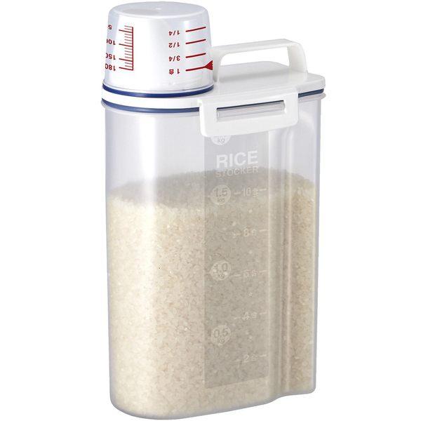 日式帶量杯手提米桶 2.3L 防潮密封 五榖雜糧儲物罐 食品收納罐 貓狗寵物飼料桶 米缸米箱【AB025】《約翰家庭百貨