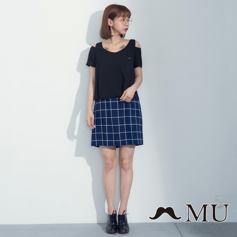 【MU】假兩件露肩格紋裙擺洋裝 7317165 3