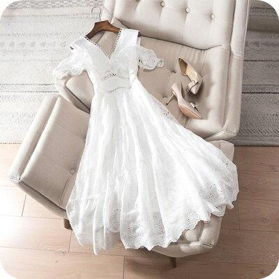連身裙露肩連衣裙-優雅氣質鏤空刺繡V領女上衣73sz35【獨家進口】【米蘭精品】