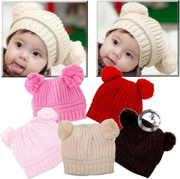 童衣圓【R061】R61毛熊帽保暖毛球帽毛線帽造型寶寶帽秋冬百搭新款適合頭圍34~52公分