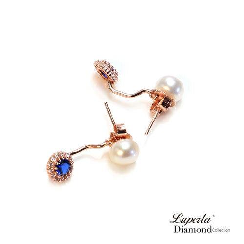 大東山珠寶 浪漫微醺海洋藍 玫瑰金天然珍珠耳環 雙用耳環 6
