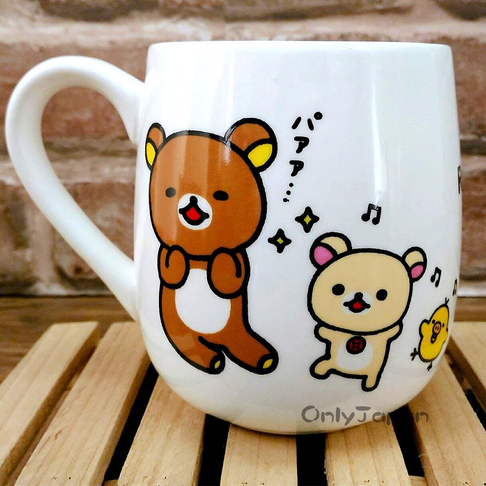 【真愛日本】18022700024 弧身胖胖馬克杯-懶熊拍照 san-x 拉拉熊 懶熊 奶熊 杯子 陶瓷馬克杯