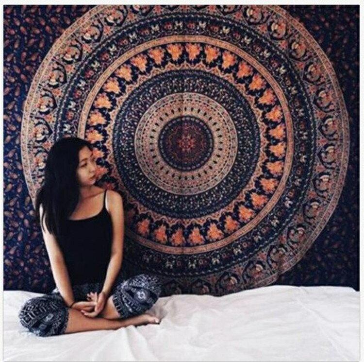 牆布東柏印度曼達拉掛布掛毯壁毯背景牆裝飾布沙發巾桌布瑜伽【全館免運】交換禮物