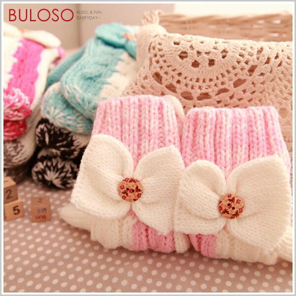 《不囉唆》【Y258197】(不挑色)7色蝴蝶結紐扣包指 保暖針織手套 造型防寒禦寒手套