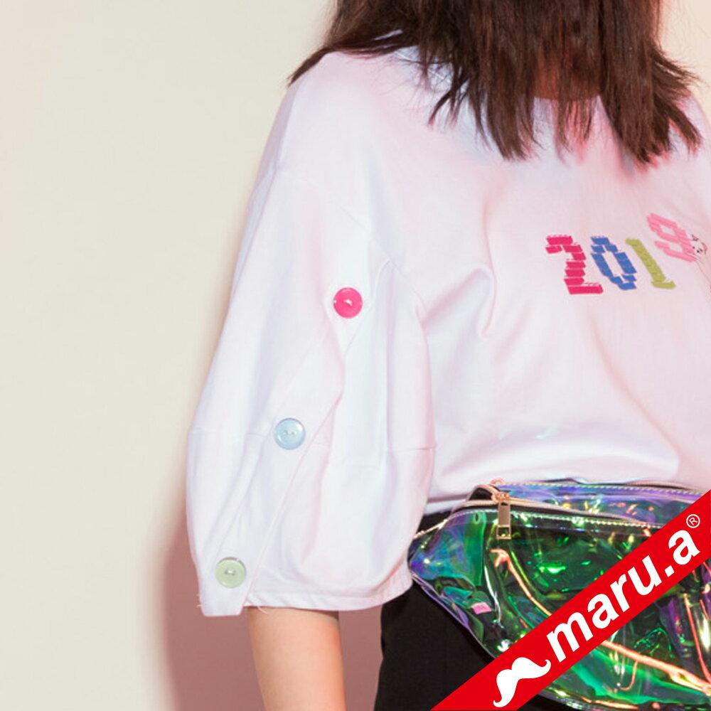 【maru.a】2019miru刺繡鈕扣手袖上衣(2色) 9321215 3