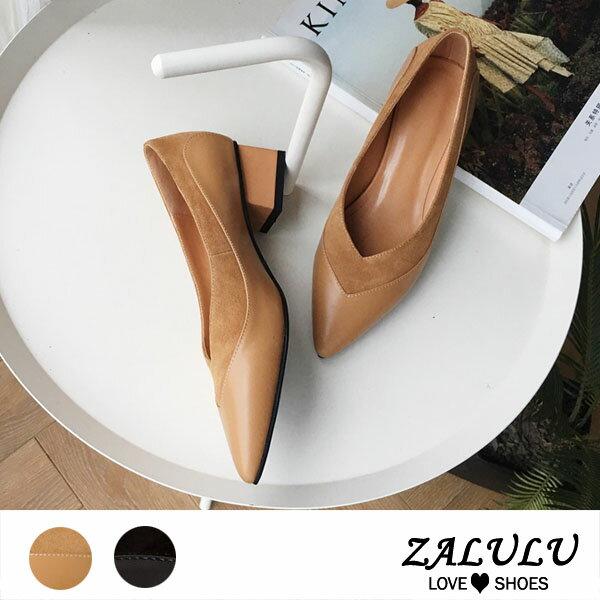 ZALULU愛鞋館7BB217全真皮拼接優雅小V口低跟鞋-黑杏-35-39