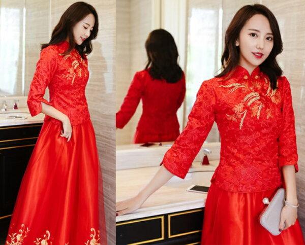 天使嫁衣【C18014】紅色復古中式七分袖兩件式旗袍禮服˙預購客製款