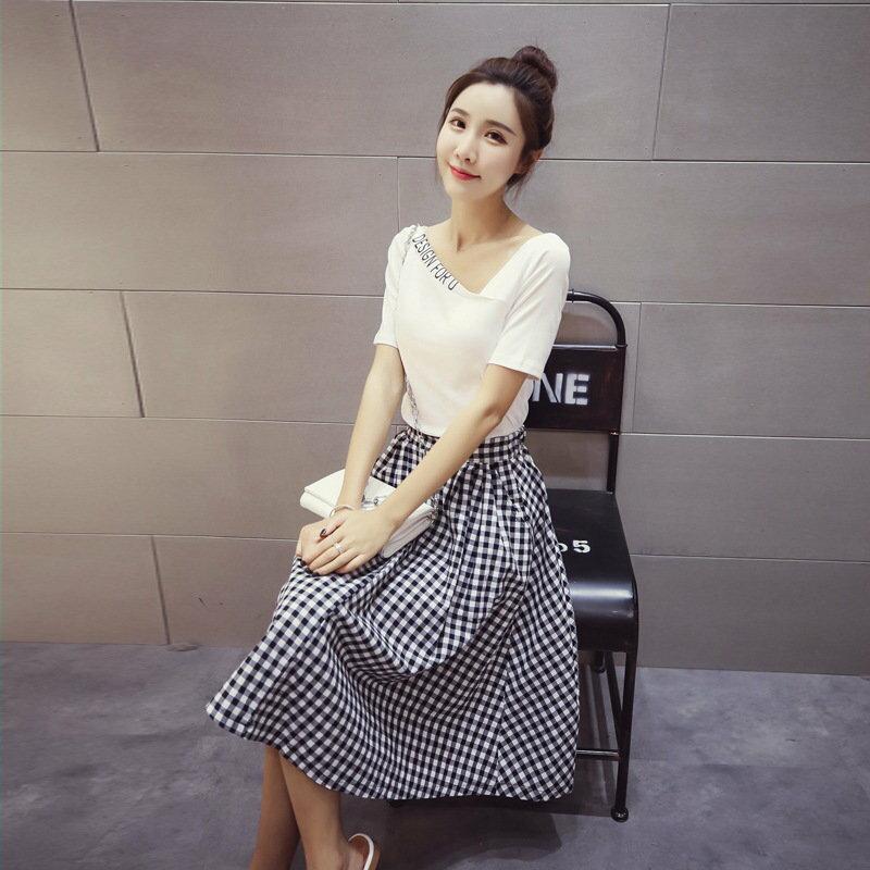 FINDSENSE G5 韓國時尚 字母 V領 短袖 T恤 兩件套 中長款 格子裙 半身裙 套裝
