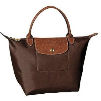 [短柄S號]國外Outlet代購正品 法國巴黎 Longchamp [1621-S號] 短柄 購物袋防水尼龍手提肩背水餃包 咖啡色