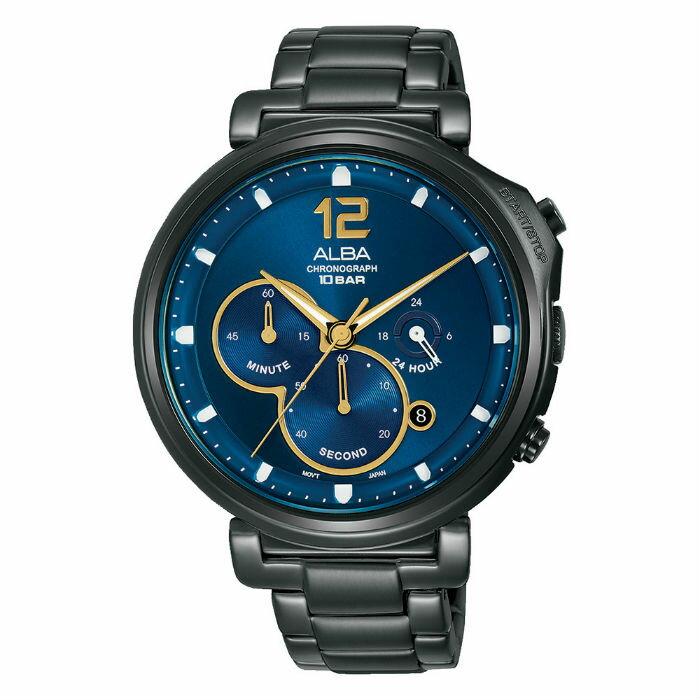 ALBA VD53-X321SD(AT3E21X1) 日期顯示三眼計時時尚腕錶 / 藍 43mm - 限時優惠好康折扣