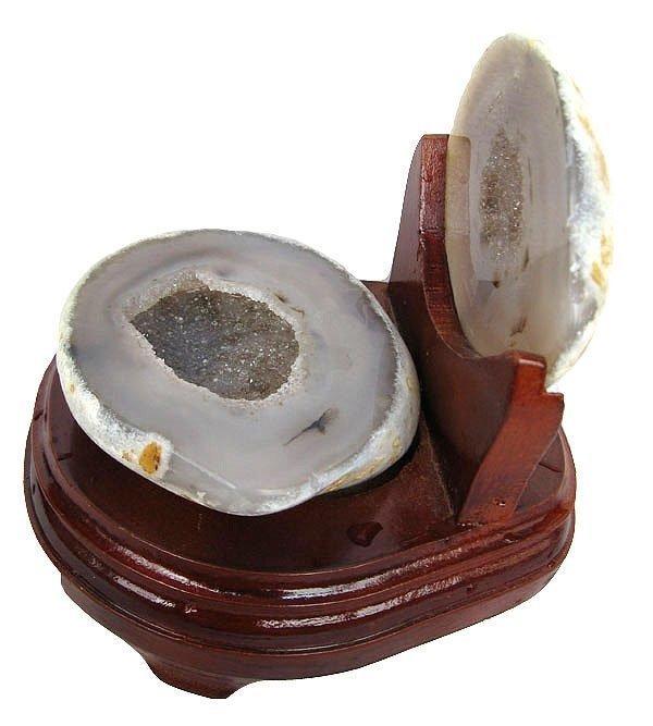 白水晶聚寶盆擺件瑪瑙聚寶盆錢袋子1.18kg