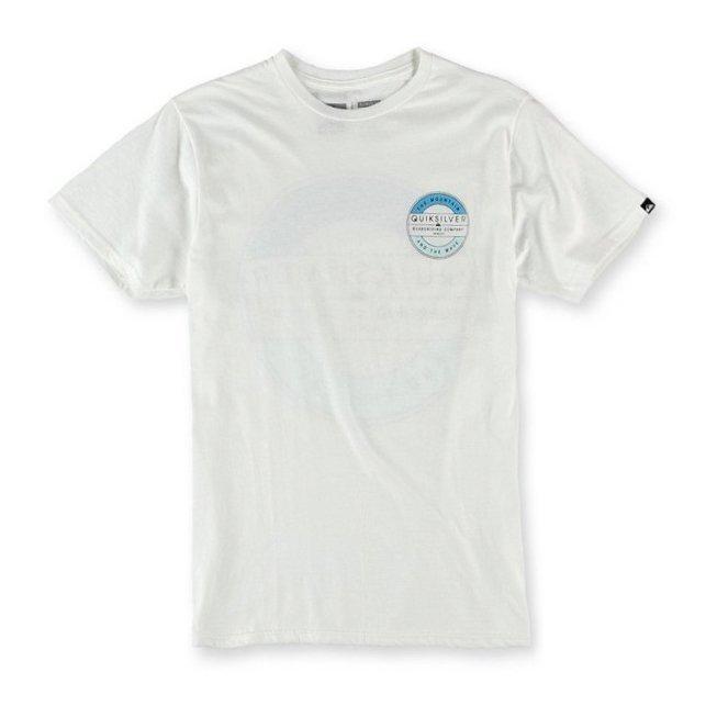 美國百分百【全新真品】Quiksilver T恤 短袖 T-shirt 白色 衝浪 短T 男款 上衣 S M號 C843
